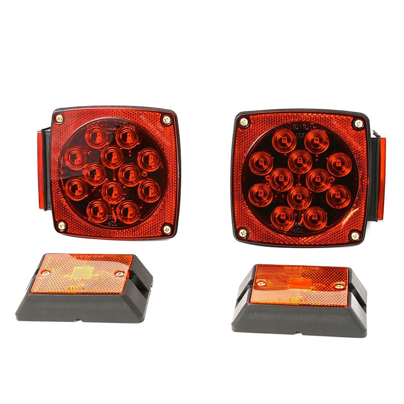 Rear Led Submersible Trailer Tail Lights Kit Boat Marker Truck Round Waterproof for trailers under 80 inches in width (5)
