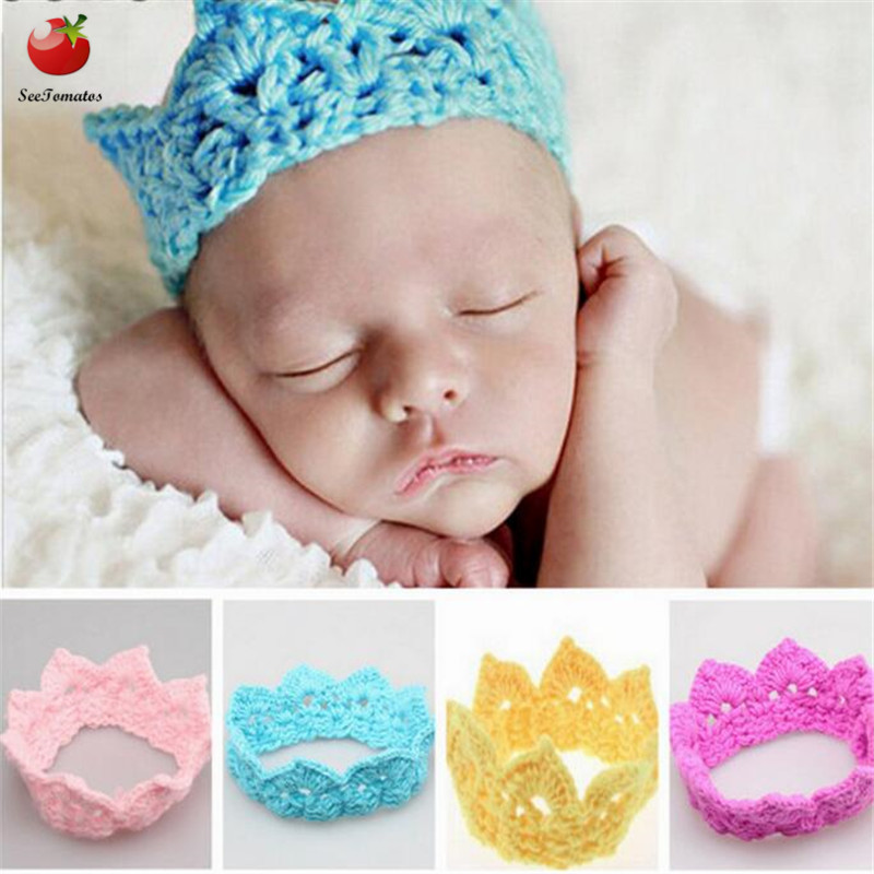 Knitting Crown Newborn Photography Props Cute Baby Caps Soft Baby ...
