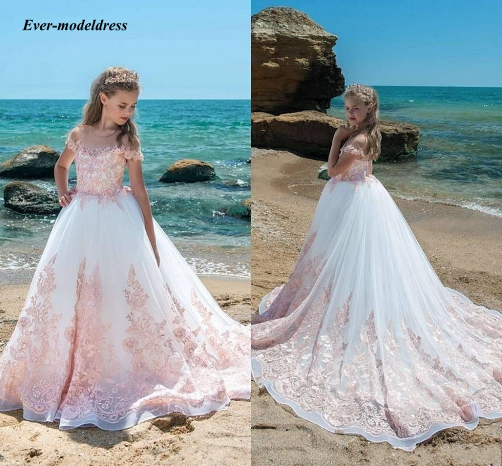 2019 Lace   Girls   Pageant   Dresses   With Blush Pink Appliques Sheer Neck   Flower     Girls     Dresses   A-Line Children Birthday Party Gowns