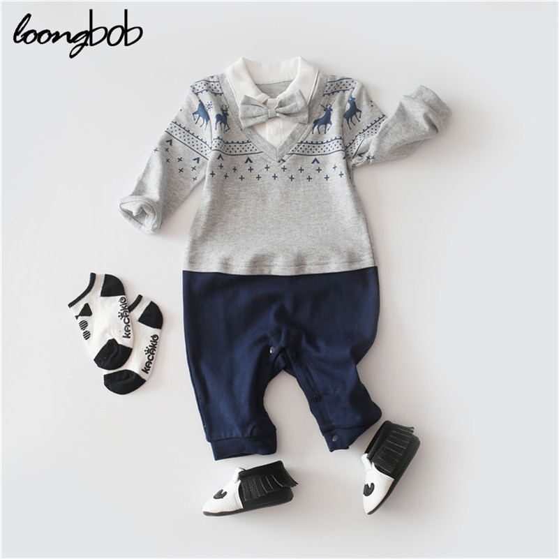 Baby Boy Gentleman Rompers Cotton Tie Gentleman Suit Bow Deer Body Suit Clothing Toddler Infantil Jumpsuit Baby Boys Clothes