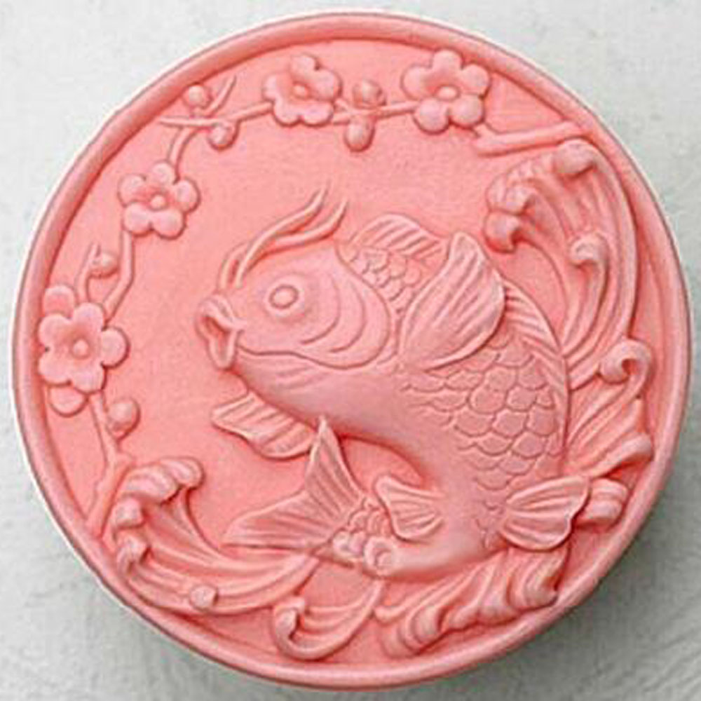 Fish Handmade Candle Soap Molds White Round Silicone DIY Resin Soap Making Mould