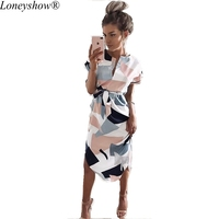 Loneyshow 2017casual Women Dress Hot Sexy V Collar Box Printing Long Paragraph Straight Dress