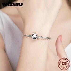 Image 5 - Wostu 100% 925 Sterling Zilver Poëtische Blooms Armband & Bangles Voor Vrouwen Fit Diy Charms Kralen Originele Sieraden Gift FBS919