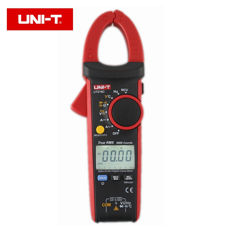 UNI T UT216C 600A True RMS Digital Clamp Meters Auto Range with Frequency Capacitance Temperature NCV
