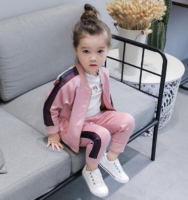 Image 3 - 2 8 Year Baby Girls Sport Suits 2019 Spring Children Long Sleeve Zipper Coat+ Pant Casual Girls Clothing Set Kids Tracksuit-in Clothing Sets from Mother & Kids