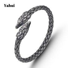 YaHui stainless steel Antique Silver Plated men bracelet hawk head friendship bracelets personalized gifts for