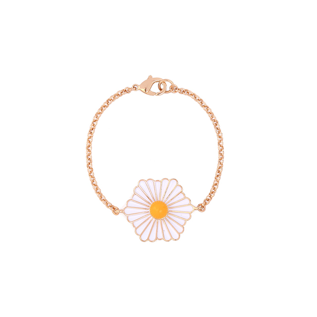 Cute Daisy Acrylic Enamel Bracelet Golden Tone Chunky Charm Indian Trendy Jewelry For Gift