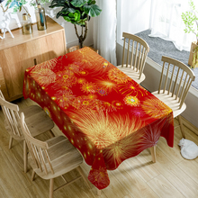 Europe style Polyester 3D Tablecloth Red Fireworks Christmas Print Waterproof Rectangule Table Cover Cloth Wedding Decoration недорого