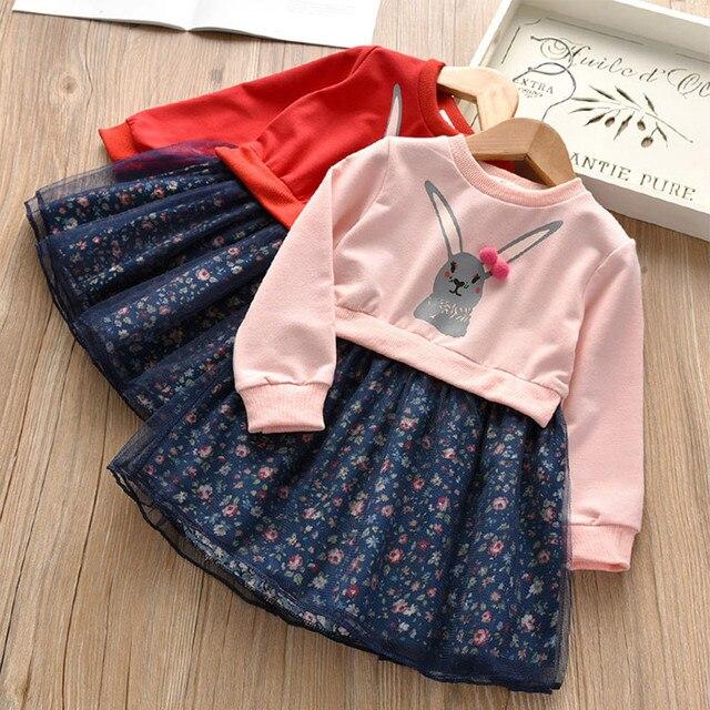 Muqgew для малышей Детская одежда для маленьких девочек с рисунком кролика, платье принцессы с цветочным рисунком, наряды, одежда, платье для девочек, vestido menina