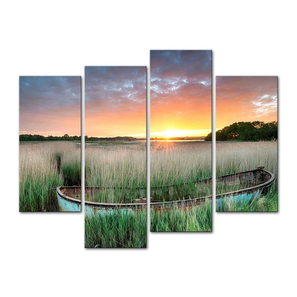 enmarcado panelesset puesta de sol barco serie hd impresin de la lona pintura arte regalo de pared imagen de arte decorativ
