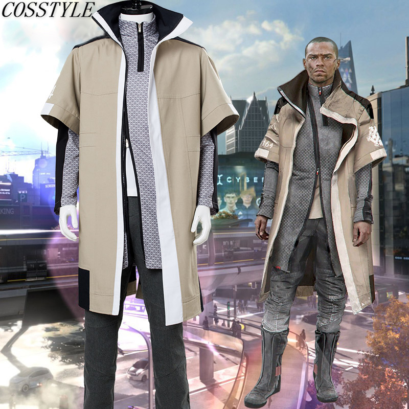 Jeu Detroit: devenir Costume humain Costume de Cosplay Markus ensemble complet manteau chemise pantalon vêtements quotidiens Costume de bataille Costumes d'halloween