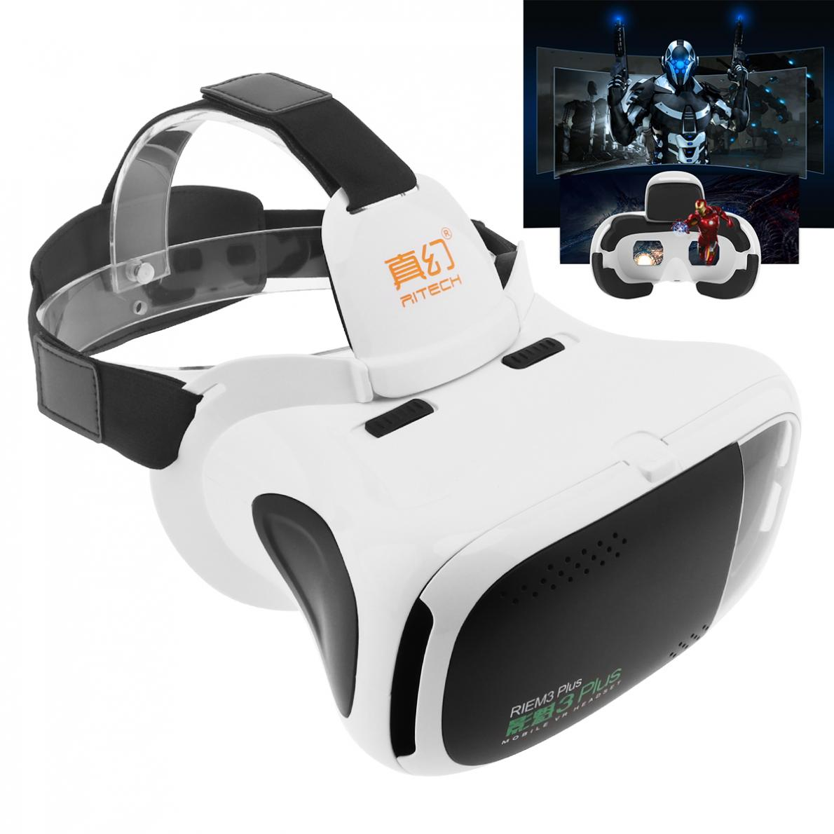 RIEM3 Plus ABS Head-mounted 3D Virtual Reality VR Glasses With AR Function and Buffer Sponge for 4.7 - 6 Inch Phone