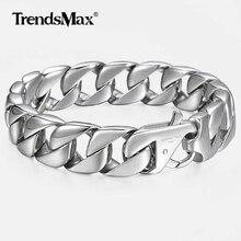 "14 Mm Mannen Armband Zilveren Kleur 316L Rvs Ronde Curb Cubaanse Link Chain Armbanden Mannelijke Sieraden Cadeau Voor mannen 8.62 ""HB164"