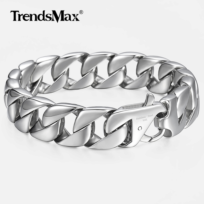 "14mm Men's Bracelet Silver 316L Stainless Steel Round Curb Cuban Link Chain Bracelets Male Jewelry Hot Gift for Men 8.62"" HB164"