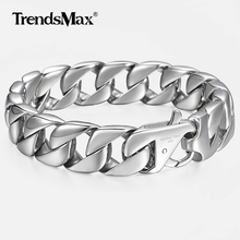 "14mm Mens Bracelet Silver Color 316L Stainless Steel Round Curb Cuban Link Chain Bracelets Male Jewelry Gift for Men 8.62""HB164"