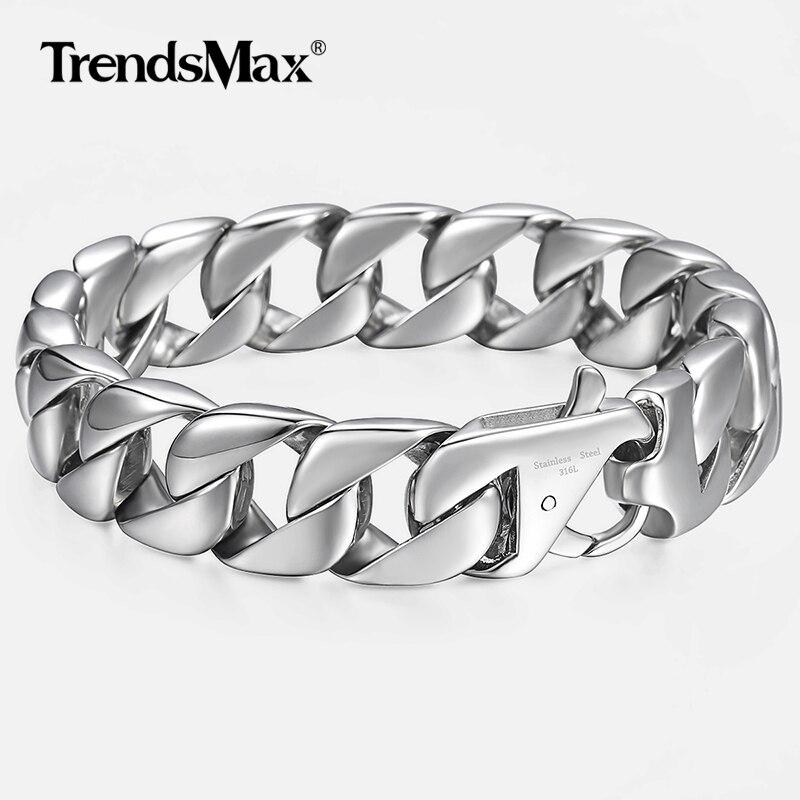 a2ea4ad5abe7 14mm pulsera de los hombres de plata 316L redondo de acero inoxidable de la  acera enlace cubano pulseras de cadena hombre caliente joyas regalo para  hombres ...
