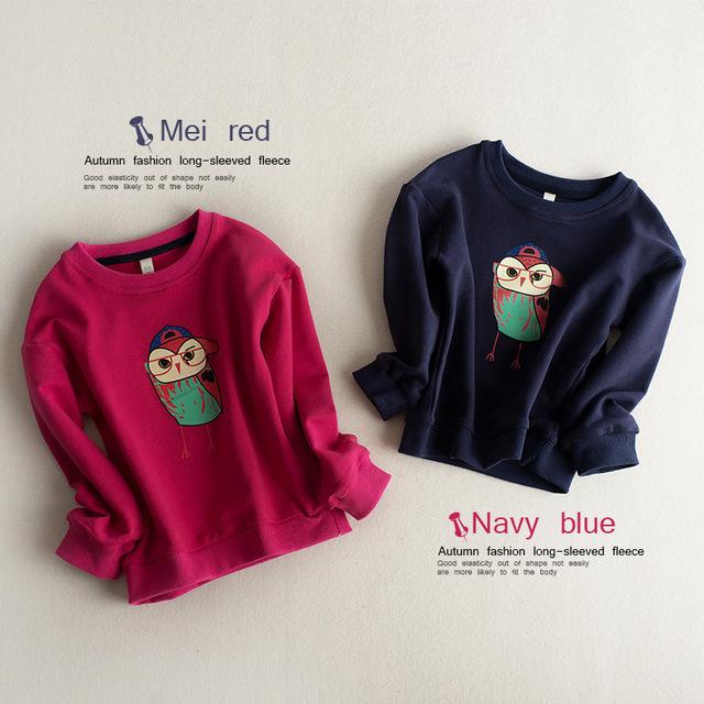 2016 primavera y otoño nuevo estilo de las camisetas niñas niños lindos moda hermosa owl cartoon impreso jerséis camisetas