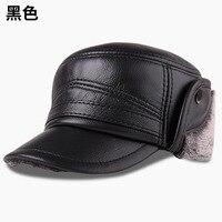 Men's Genuine Leather Hats Adult Winter Warm Baseball Cap Male Winter Warmth Cap Elder Outdoor Ear Protection Hats B 8813
