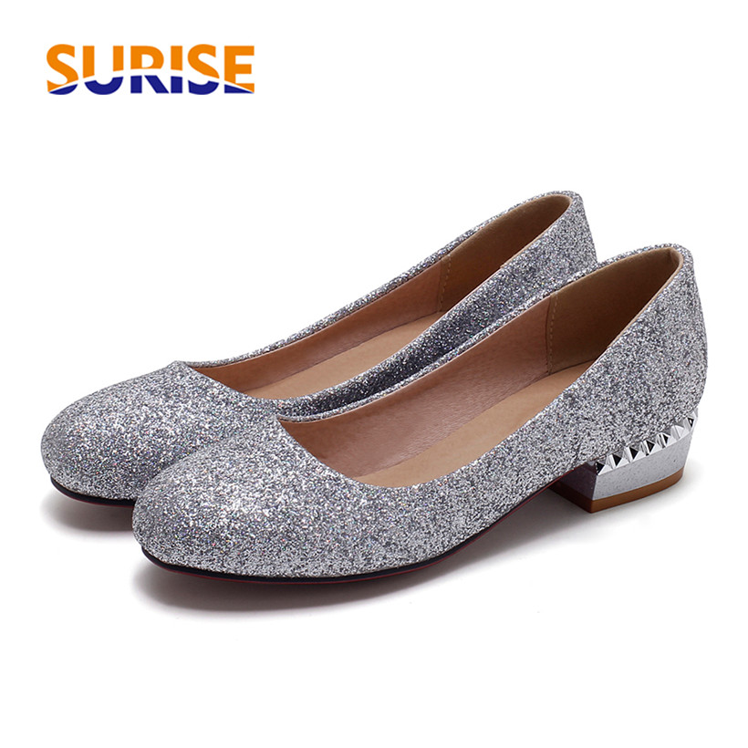 Big Size Casual 3cm Low Thick Block Heel Women Pumps Round Toe Sequined Cloth Bling Summer Office Party Dress Gold Ladies Shoes amourplato women s ladies handmade fashion big large size thick block heel closed toe high heel party office pumps chunky shoes