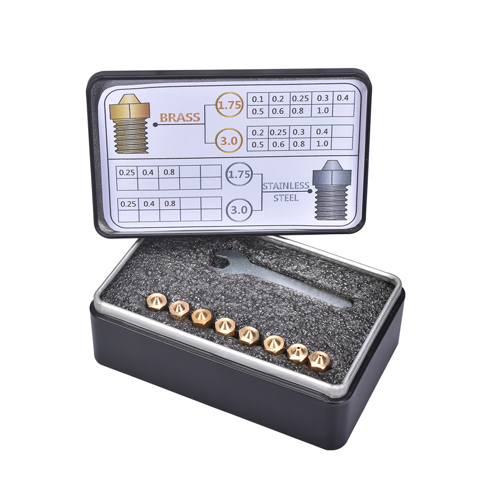 3D printer Nozzle Brass/Stainless Steel 1.75/3.0mm M6 Thread V5 V6 J-head MK8 Extruder With Case 4 color full size
