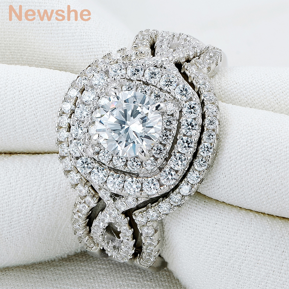 Wedding Ring Sets Sterling Silver: Newshe 2.1Ct 3Pcs Solid 925 Sterling Silver Wedding Ring