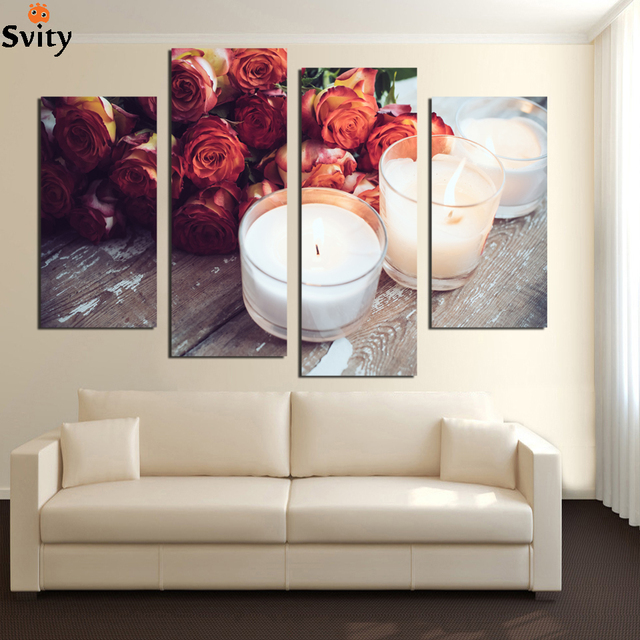 modern flower candle painting piece large canvas print wall art