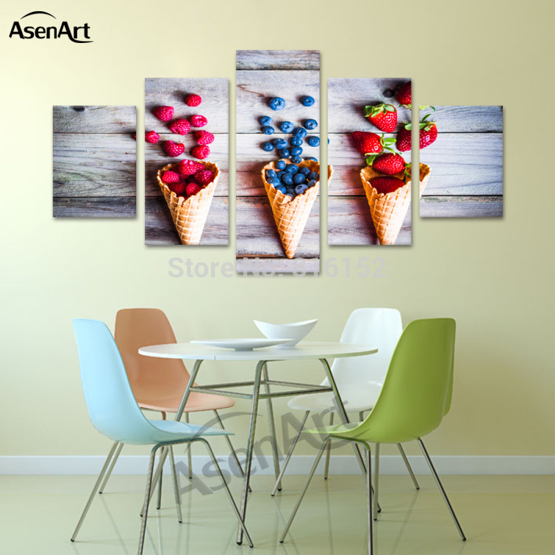 Canvas Print Wall Art Food Painting Berries In Waffle Cones Picture For  Kitchen Dinning Room Home Part 51
