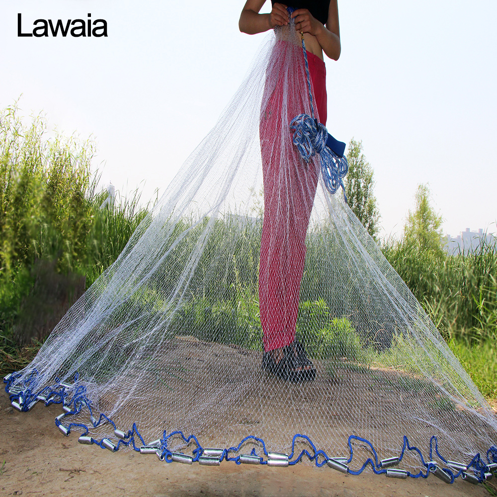Lawaia Amerikanische Hand Cast Net Durchmesser 2,4 m-7,2 m Fischernetz 4,2 m Angeln Netzwerk 3 m Angeln netze Oder Keine Anhänger Angeln-netze
