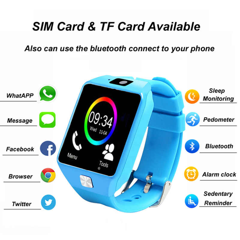 Smart Watch for Android IOS Phone Children Camera Women Bluetooth Watch with Retail Box Russia Support SIM TF Cards PK A1 GT08