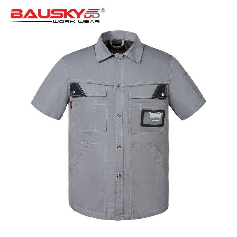 Swedish tooling  Bao Shiji short-sleeved polyester cotton thin men summer labor insurance engineering auto repair work clothes