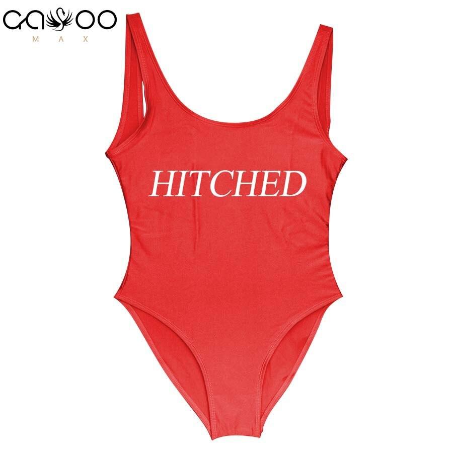 HITCHED Funny Letter 2018 Female One Piece Swimsuits sobretudo feminino body swimwear bathing suits one piece biquini una pieza