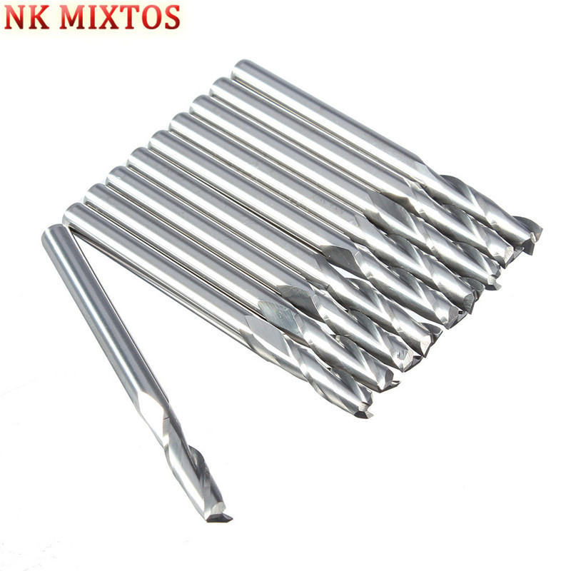 NK MIXTOS 10PCS / Set 1/8'' 3.175mm Carbide CNC Double Two Flute Spiral Bits End Mill Router 12mm 10pcs box 1 8 inch 0 8 3 17mm pcb engraving cutter rotary cnc end mill milling cuter drill bits