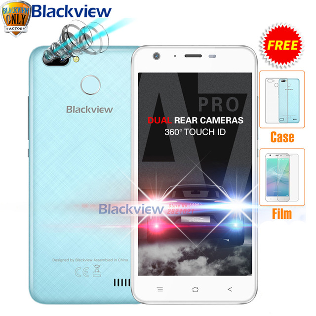 """Blackview A7 Pro Mobile phone Android 7.0 MTK6737 Quad core 5.0""""HD 2GB RAM 16GB ROM Dual Rear Camera Touch ID 4G LTE Smartphone"""