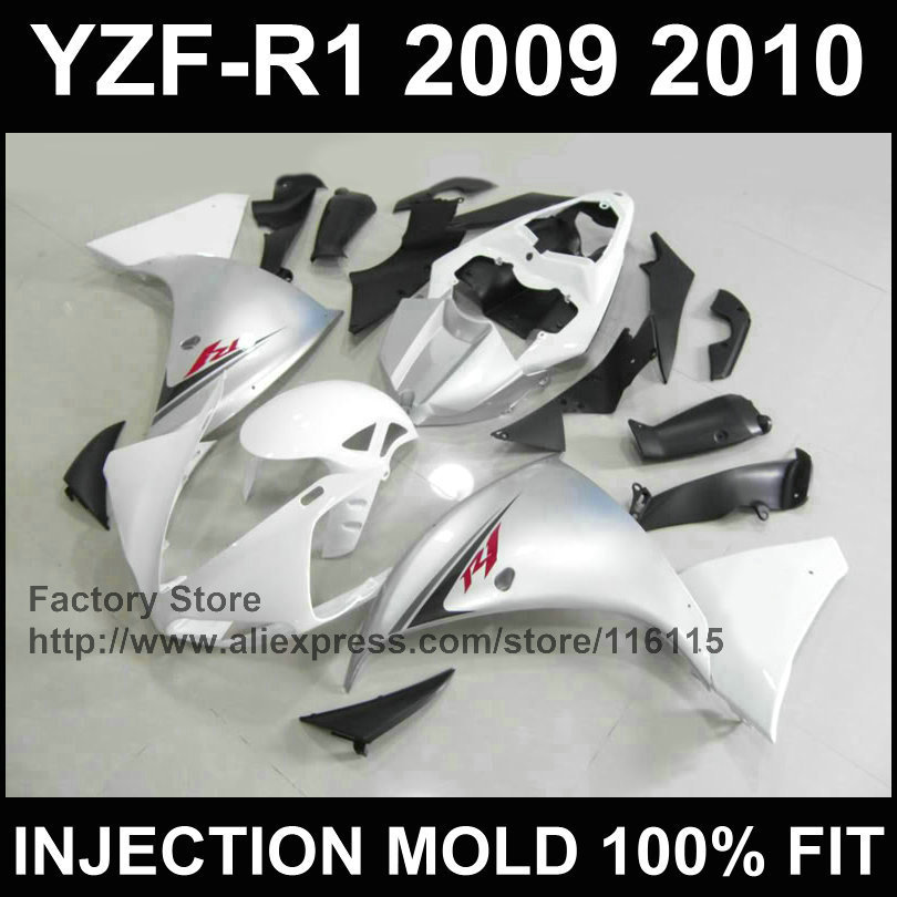 Custom free Injection molded ABS fairings kit for YAMAHA 2009 2010 2011 YZFR1 09 10 11 YZF1000 silver white YZF R1 fairing parts