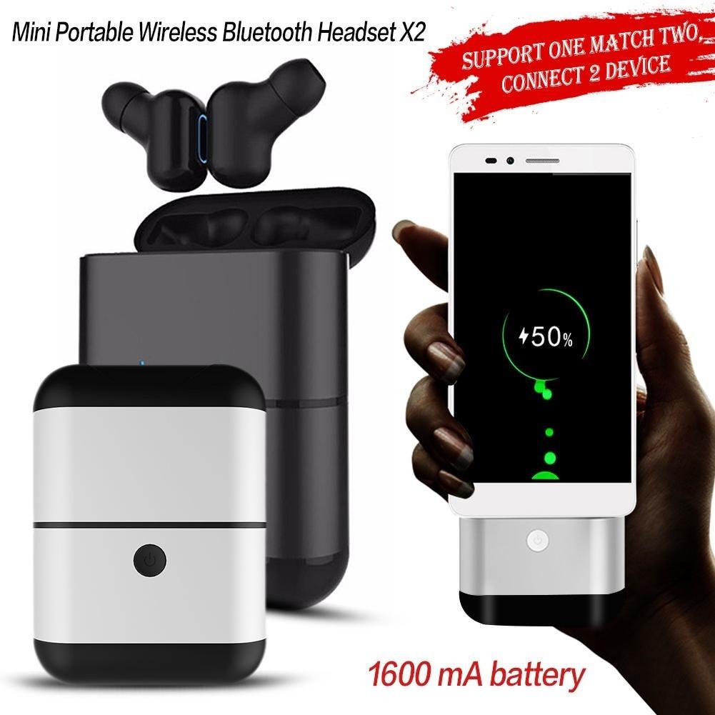 X2-TWS Mini stéréo BT écouteurs affaires in-ear Headest X2 TWS Mini sans fil Bluetooth écouteurs avec Microphone mains libres appel
