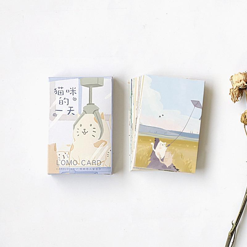 28 folhas/Set Gato Adorável Vida Diária Mini Cartão Lomo Cartão Postal/Cartão de Desejo/Natal E Novo presentes do ano