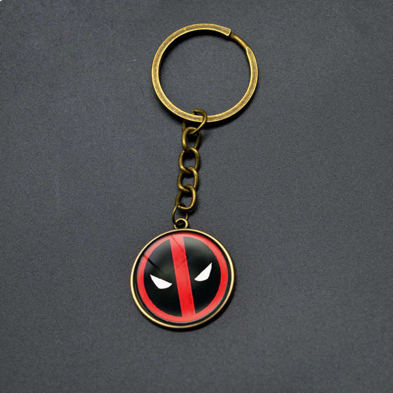 Hot Sell DEADPOOL Key Chains Boy DC font b Anime b font Glass Cabochon Dome Pendant