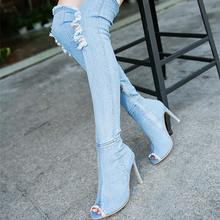 5be28628d0 Fashion hole jeans sexy high boots women shoes 2018 high heel over the knee  stretch women boots open toe denim thigh shoes woman