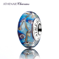 ATHENAIEแก้วมูราโน่ของแท้925ซิลเวอร์คอดาวของคืนเสน่ห์ลูกปัดFitยุโรปสร้อยข้อมือสีสีฟ้