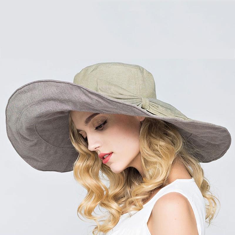 28de8af2046 RIMIUT 2017 Fashion large brimmed sun hats Foldable womens sunhats Self tie Bow  women s hat Summer Beach Floppy Cap Headwear-in Sun Hats from Apparel ...
