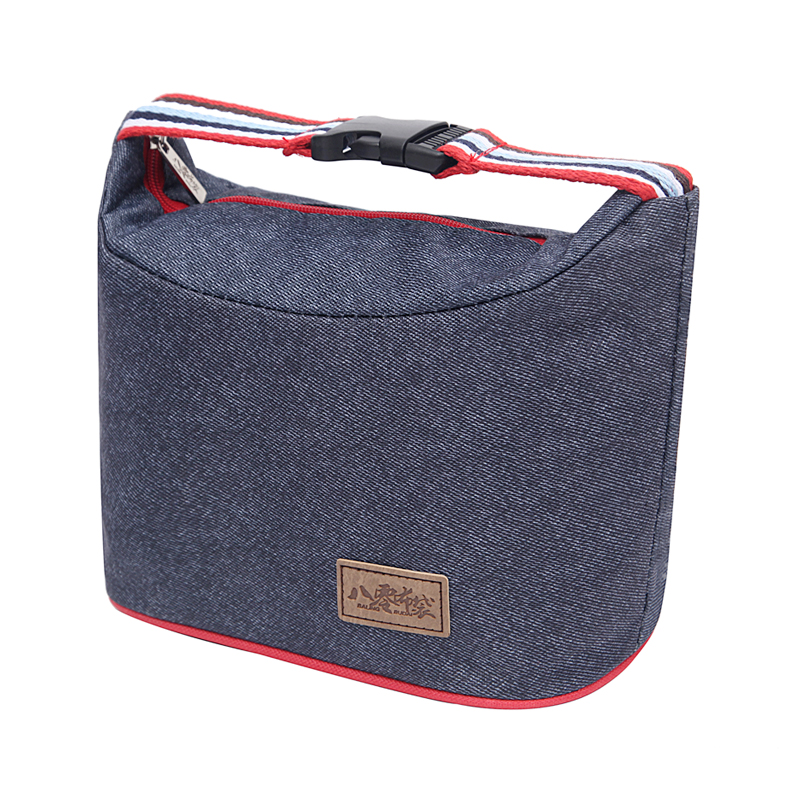 denim lunch bag portable women hangbag picnic bento box insulated pack drink food thermal ice. Black Bedroom Furniture Sets. Home Design Ideas