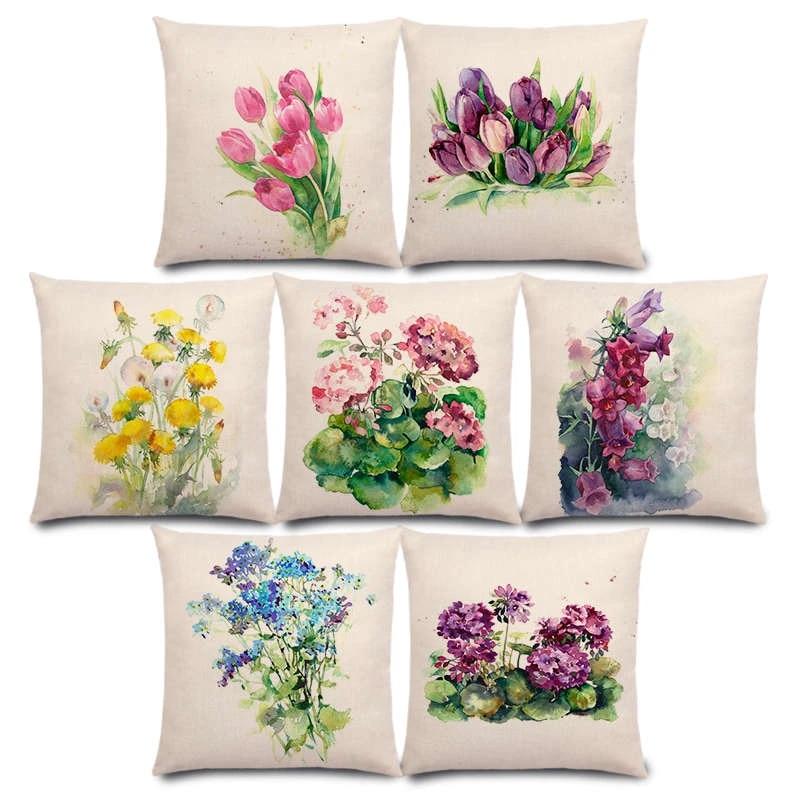 New Watercolor Flowers Bluebells Geranium Cornflowers Hollyhocks Bouquet Floral Aquarelle Cushion Cover Sofa Pillow Case Cushion Cover Aliexpress