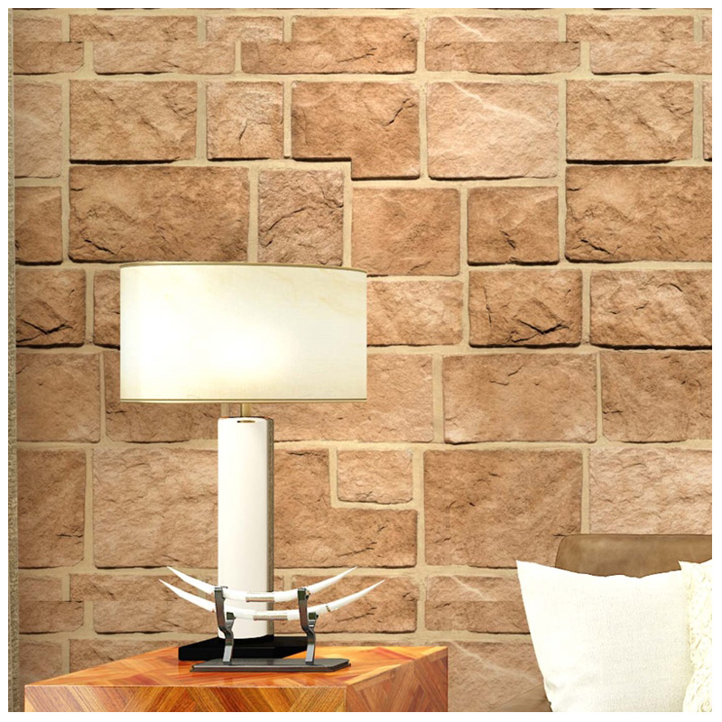 0.53x10m Chinese style 3D  Culture Stone Brick Wallpaper Tea House Restaurant Hotel Living Room Bedroom Clothing Store Wallpaper