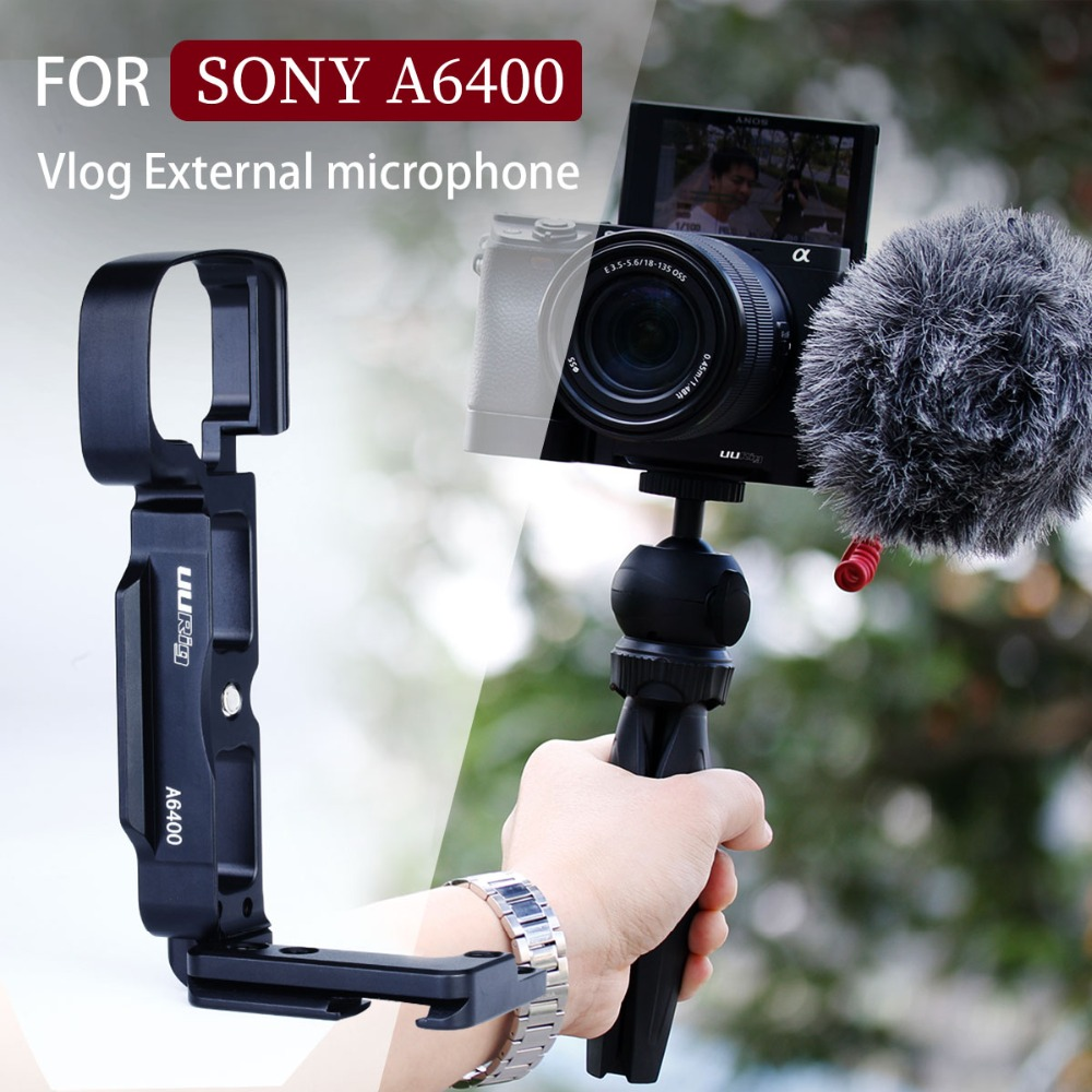 UURIG R006 for SONY A6400 6300 A6100 Vlog Quick Release L Plate Veritical Bracket Holder Hand Grip with Cold Shoe for Microphone