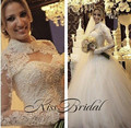 Vintage New Long Wedding Dress 2017 High Neck Long Sleeves Ball Gown Chapel Train Pearls Tulle Bride Dresses Robe de mariage