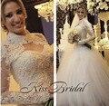 Vintage Nueva Largo Vestido de Novia 2017 de Cuello Alto Manga Larga Balón vestido de Tren Capilla Perlas Tul Vestidos de Novia Robe de mariage