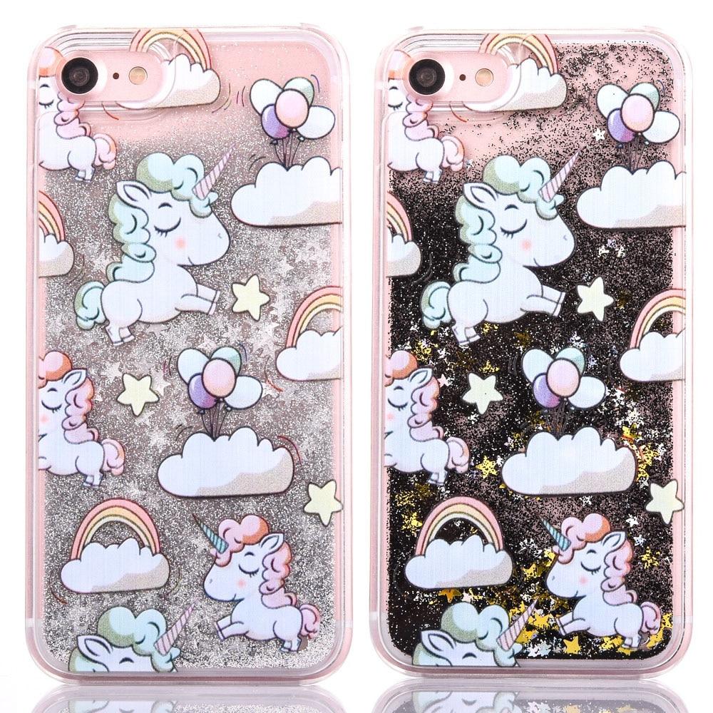 LOVECOM Cartoon Unicorn Horse Dynamic Paillette Glitter Stars Water Liquid Case For iPhone 6 6S Plus 7 Plus 5S 4S Plastic Covers