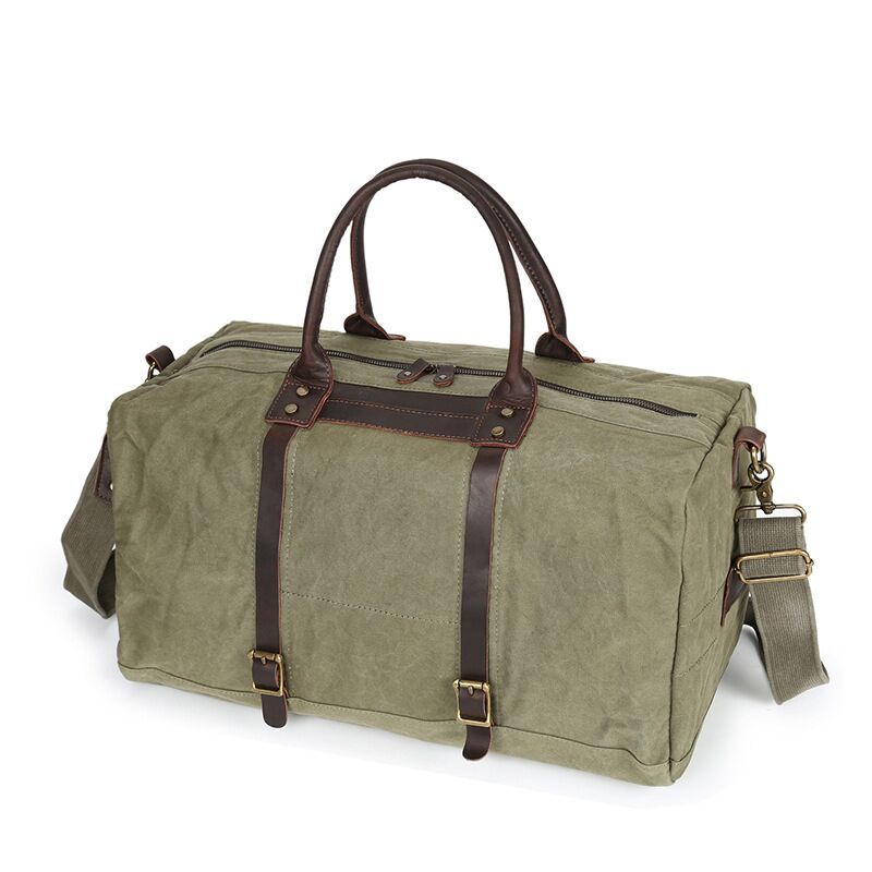 RETRO STYLE MENS TRAVEL BAGS VINTAGE CANVAS DUFFLE BAG WEEKEND BAG DURABLE WATER REPELLENT CRAZY COW LEATHER