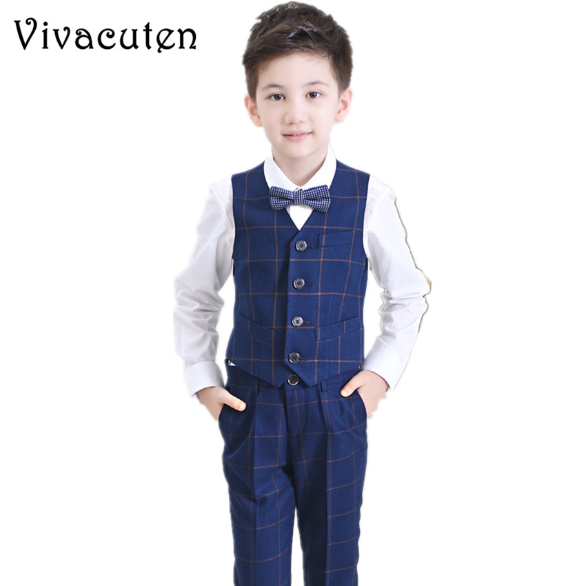 New Boys Vest Clothing Set Children Leisure Clothes Kids Cotton Wedding Prom Suits Plaid Vest Shirt Pants Tie 4pcs Suit F093 new 2018 spring fashion baby boy clothes gentleman suit short sleeve stitching plaid vest and tie t shirt pants clothing set