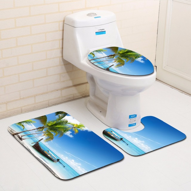 The 3 sets bathroom carpet mat and Toilet seat cover sea and blue 45*75 WC Non-slip mat and Toilet seat cover bath mat